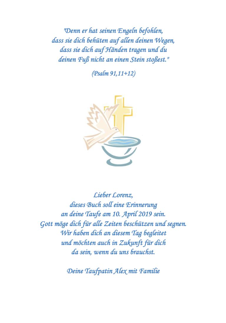 Friedenstaube mit Taufspruch