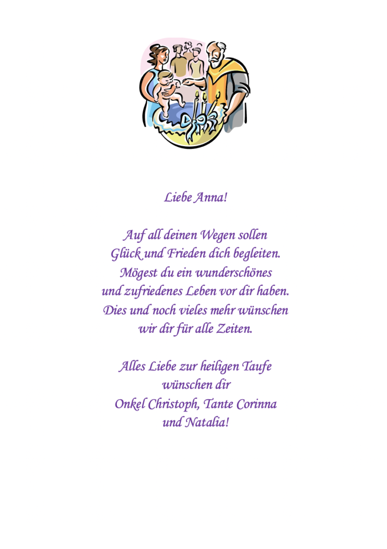 """Taufe Grafik mit Spruch """"Auf all deinen Wegen"""""""