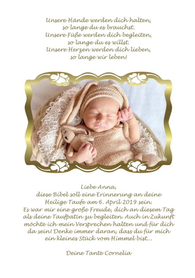 1 - Fotoseite Baby in Goldrahmen
