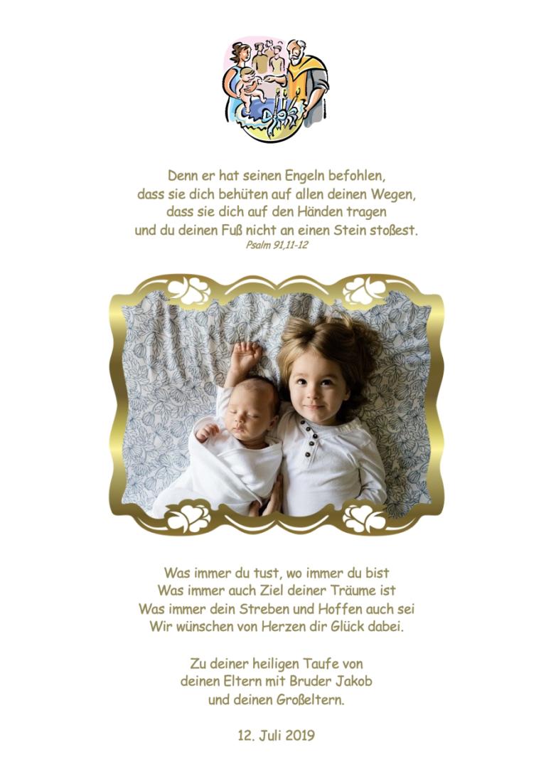 Zusatzseite mit Schmuckgrafik, Foto in Fotorahmen Gold