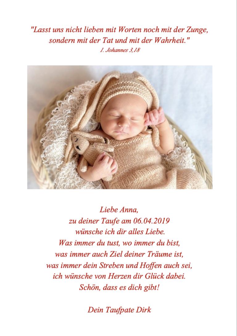 Baby mit Kuscheltier - Taufglückwünsche