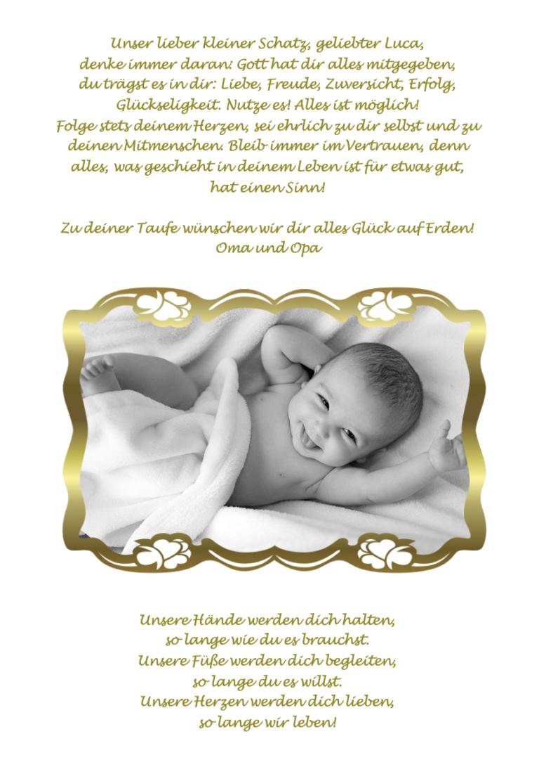 Goldiges Babyfoto mit Fotorahmen Altgold für Taufbibel Zusatzseite