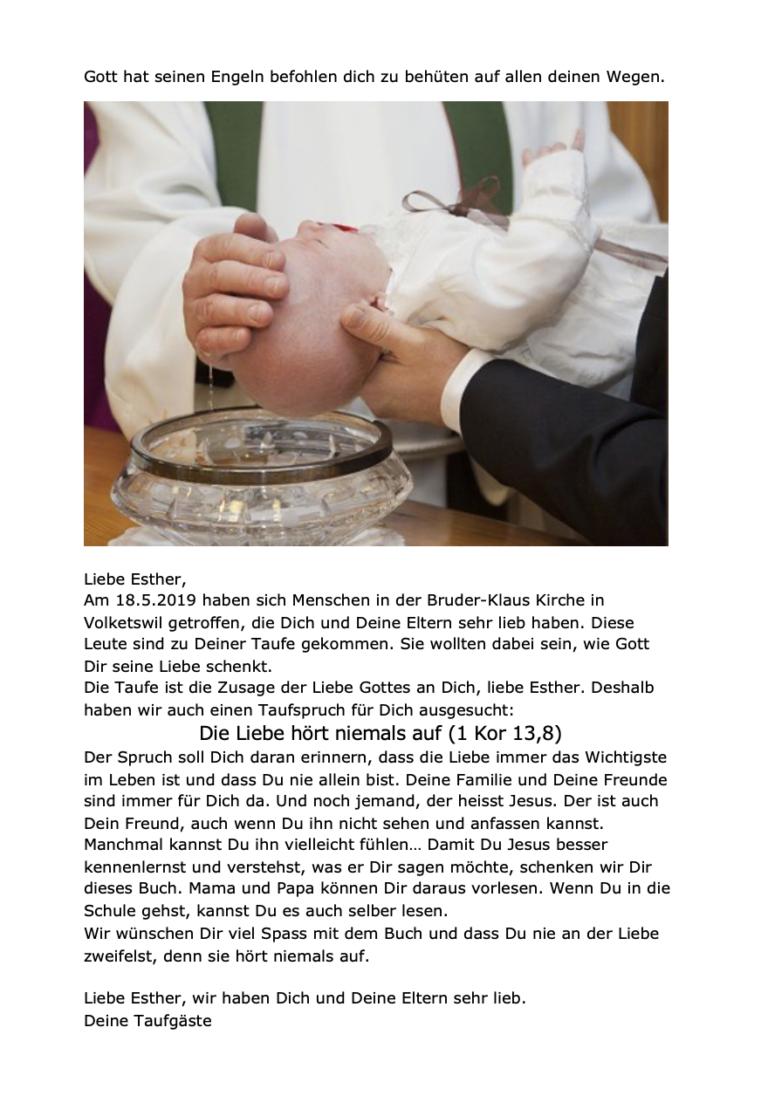 Botschaft an den Täufling - Taufbibel Zusatzseite