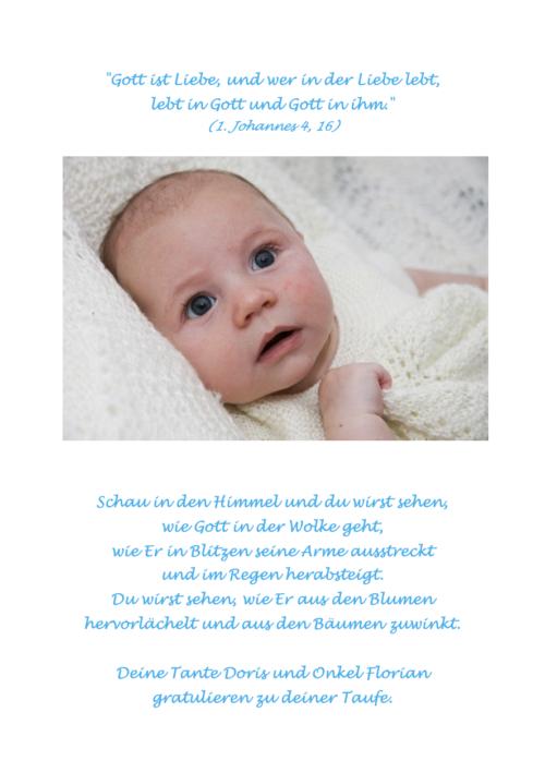 Taufbibel Zusatzseite Baby mit modernem Taufspruch