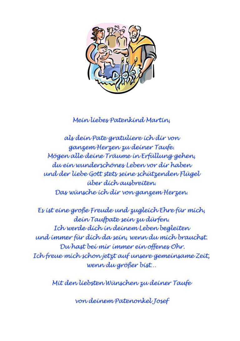 Patenonkel schreibt dem Patenkind einen schönen Taufspruch