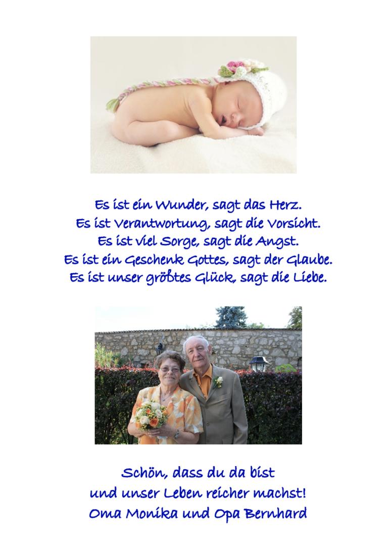 Taufbibel Fotoseite mit Großeltern