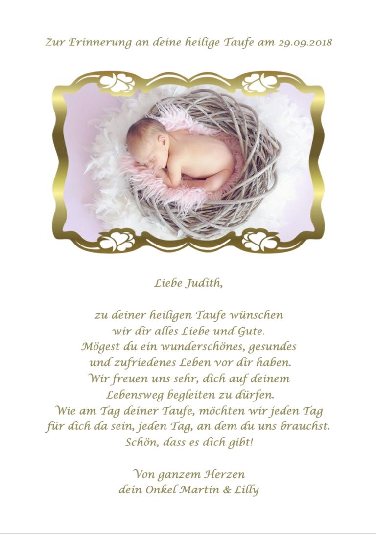 Schöner Fotorahmen in Gold für Babyfoto