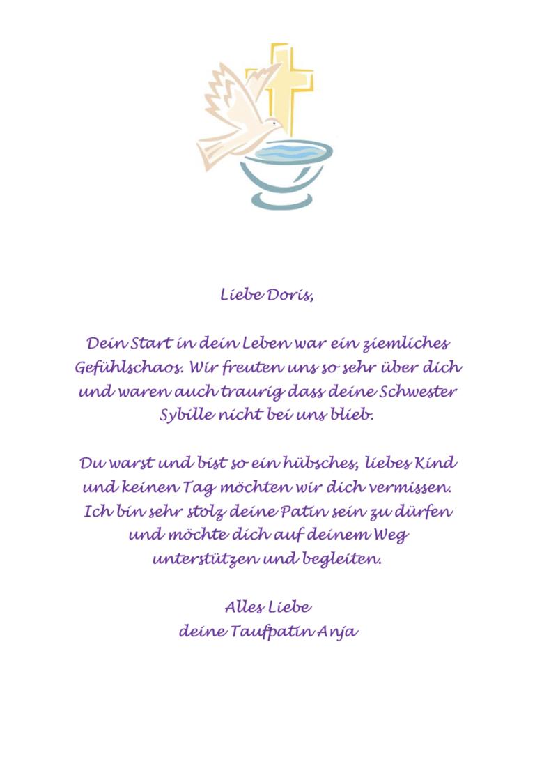 Liebevolles Schreiben der Taufpatin an den Täufling