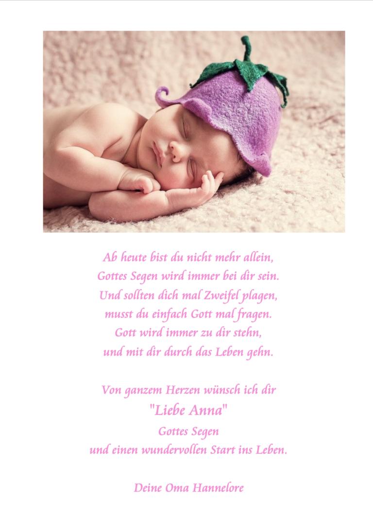 Foto Taufbibel Zusatzseite: Baby mit Hut