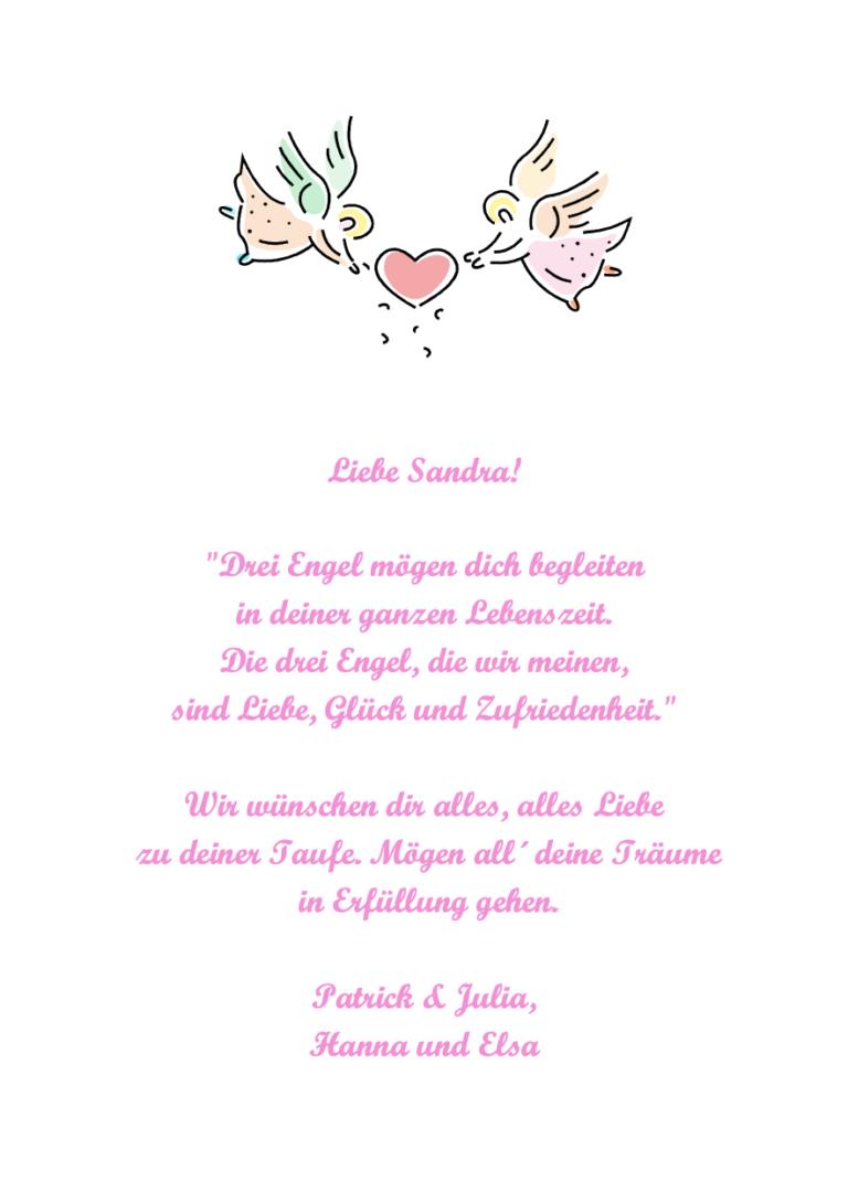 """Schutzengelspruch: """"Drei Engel mögen dich begleiten"""""""