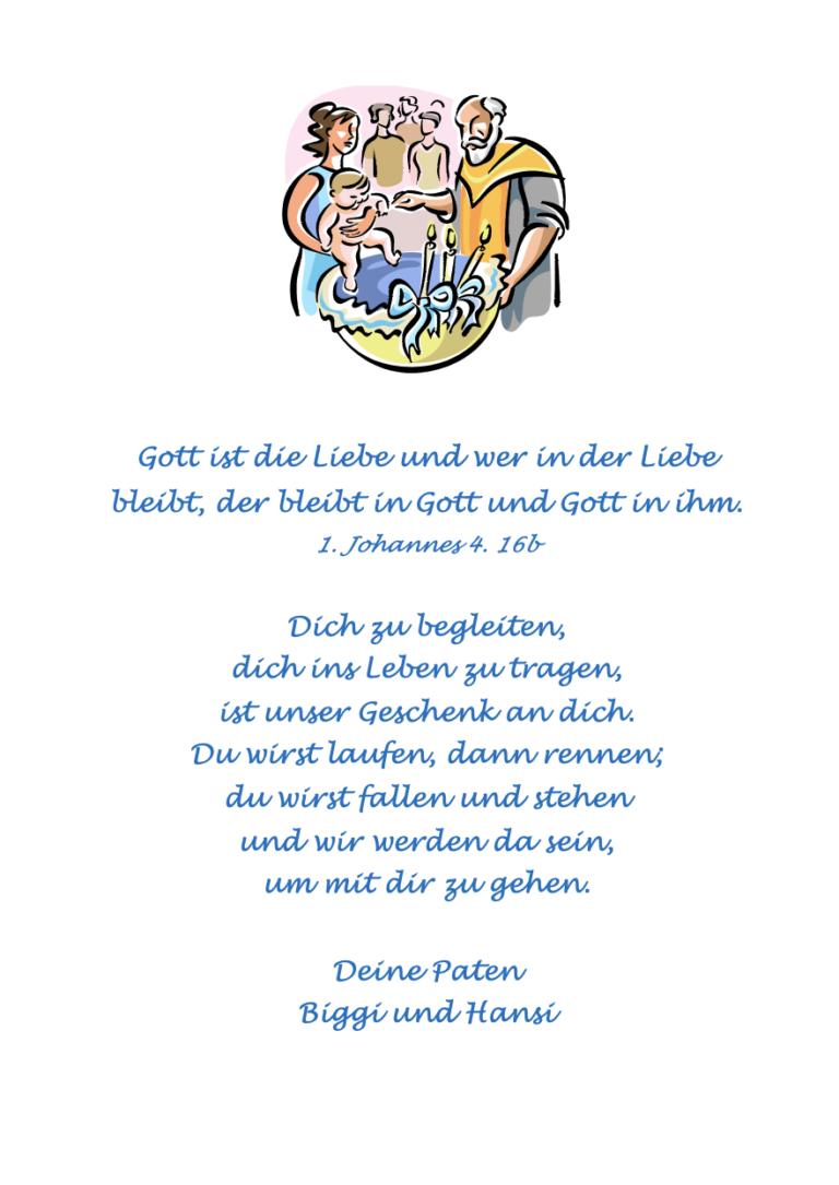 """Taufgrafik und Spruch """"Gott ist die Liebe..."""""""