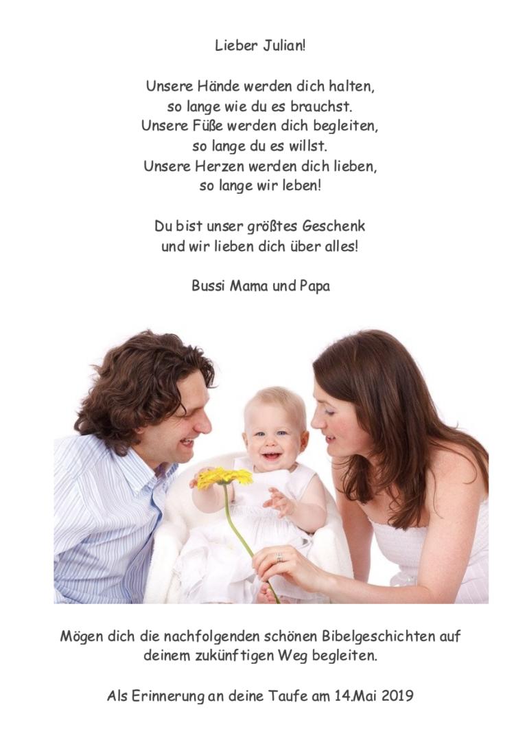Taufbibel Zusatzseite Eltern