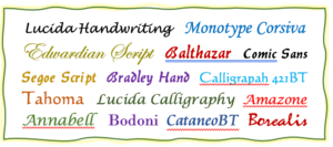 beliebte Schriftarten für die personalisierte Taufbibel (Kinderbibel)