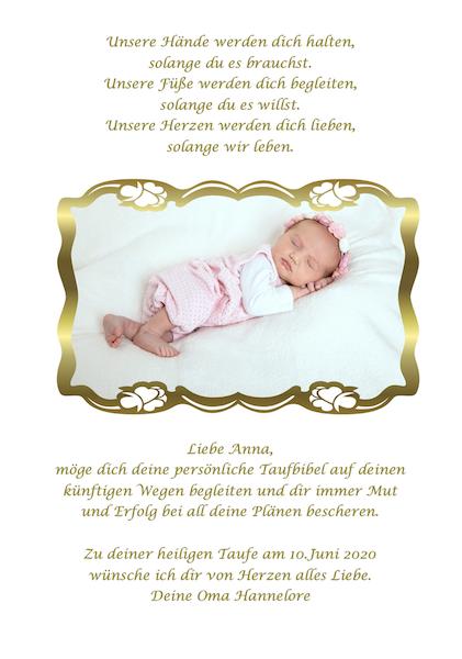 Kinderbibel Zusatzseite mit Fotodruck und Fotorahmen