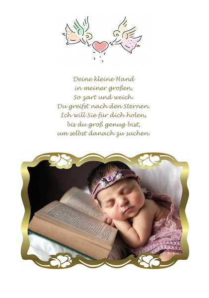 Zusatzseite mit Engel und Foto
