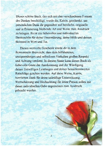 """Danke Buch Seite 2: Personalisierung in """"Du"""" Form"""