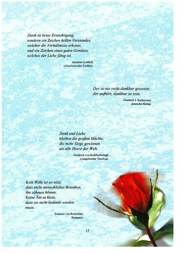 Danke Buch Seite 13 Zitate und Sinnsprüche